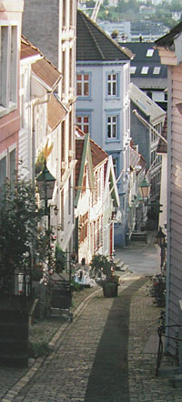 a quiet street in Bergen Norway